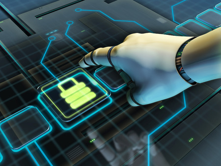 robot with shield: Robotic hand pressing a lock button. Digital illustration. Stock Photo