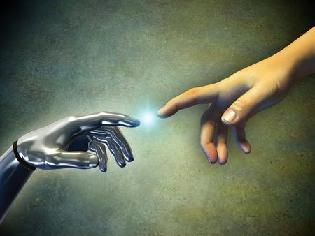La mano del hombre tocando una mano androide. Ilustración digital. Foto de archivo