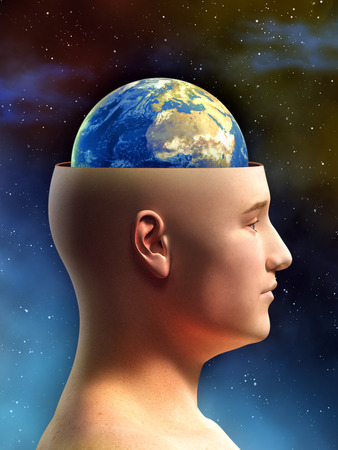 Young male figure has the top of its head removed, showing the Earth in place of its brain. Digital illustration. illustration