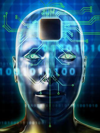 codigo binario: Cabeza humana con un microprocesador como el cerebro. Ilustración digital.