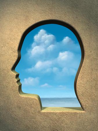 A bright blue sky seen through an head shaped window. Digital illustration. illustration