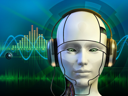 artificial intelligence: Android head wearing some headphones. Digital illustration.