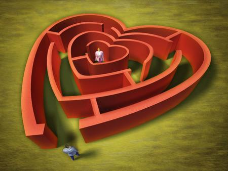 A man entering an heart shaped labyrinth. Digital illustration. illustration