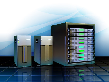 Different servers as hosting solutions for web applications. Digital illustration. Stock Photo