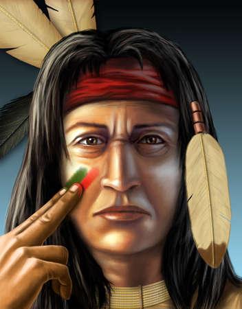 tribu: Guerrero indio americano que pinta su rostro. Ilustración digital, figura creada desde cero, sin autorización de modelo necesario. Foto de archivo