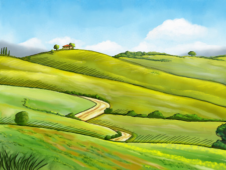 Colorful and relaxing rural landscape. Digital illustration. Stock Photo
