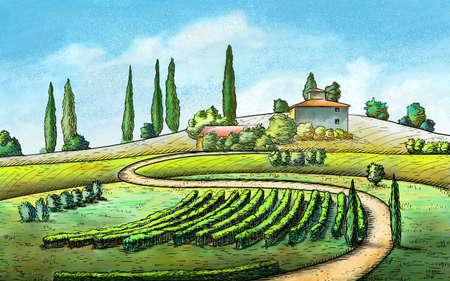 Italian country landscape. Original digital painting.