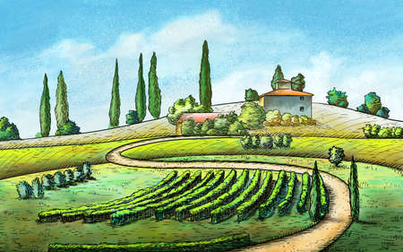sienna: Italian country landscape. Original digital painting.