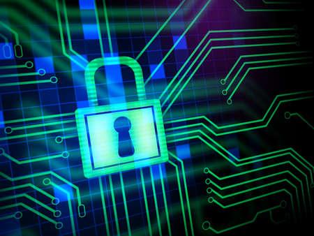 seguridad industrial: Candado y ojo de la cerradura en un circuito impreso. Ilustración digital. Foto de archivo