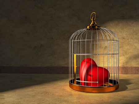 prisoner of love: A red heart kept closed in a shiny metal cage. Digital illustration. Stock Photo