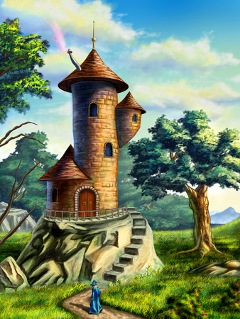 mage: Fantasy landscape with a mage tower. Digital illustration.