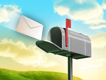 rolling landscape: Traditional mailbox and letter over a gorgeous landscape with rolling hills and clouds. Digital illustration.
