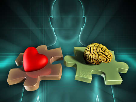 heart puzzle: Human figure on background, with an heart and a brain on two matching puzzle pieces. Digital illustration.