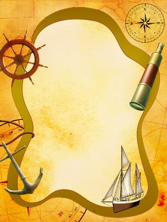 helm boat: Composición de temática náutica en una superficie de papel manchado. Ilustración digital.
