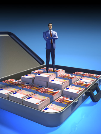 Businessman proudly standing in a case full of money. Digital illustration, clipping path included. illustration