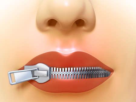 boca cerrada: Mujer boca cerrada por una cremallera de metal. Ilustración digital.