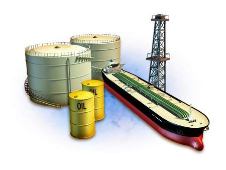 crude oil: Oil themed composition showing an oil tanker, derrick, some barrels and storage tanks. Digital illustration, including a clipping path to separate objects from background.