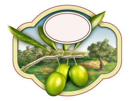 oxidant: Olive oil label with a beautiful country landscape. Digital illustration, copy-space available, clipping path included.