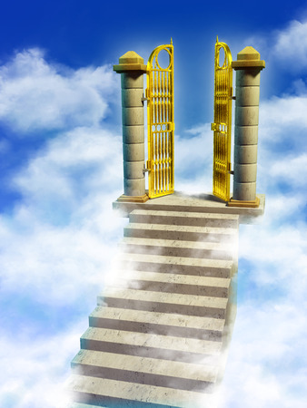 open road: Marble stairs and golden gates lead you to Paradise. Digital illustration.