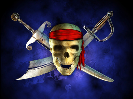 menacing: Menacing pirate skull with two crossed swords on background. Digital illustration. Stock Photo