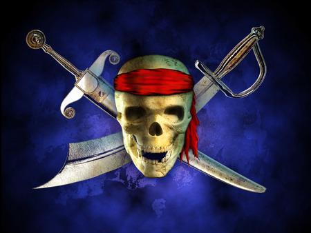 menacing: Menacing pirate skull with two crossed swords on background. Digital illustration. Stock Photo