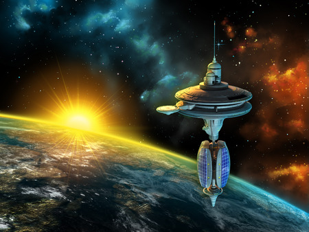 Space station over a gorgeous space panorama. Digital illustration. Imagens