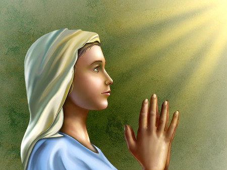 virgin: Young woman wearing an hood is praying with devotion. Digital illustration. Stock Photo