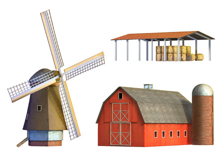 Different examples of rural architecture: windmill, barn and depot. Digital illustration, clipping path included. illustration