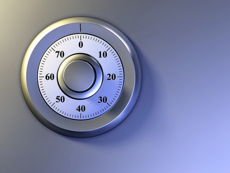 bank vault: Numeric lock on a safe door. Digital illustration.
