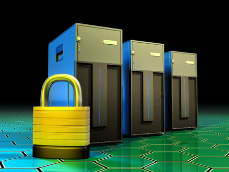 datacenter: Three tower servers being protected by a lock. Digital illustration. Stock Photo