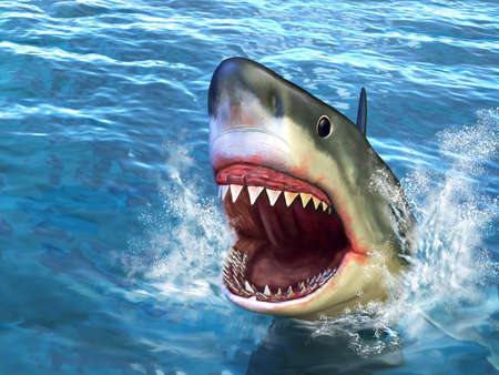 3d scary: Great white shark jumping out of water with its open mouth. Digital illustration.