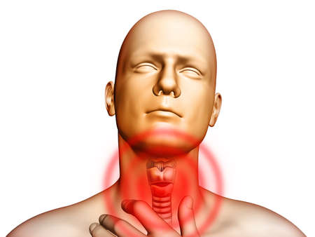 bronchi: Medical illustration showingt pain located in the throat area. Digital illustration. Stock Photo