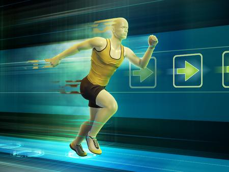 Man running in a virtual reality tunnel. Digital illustration. illustration