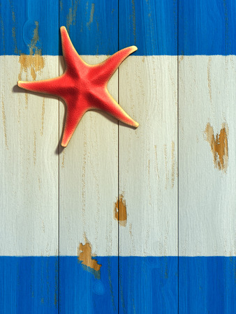 chipped: Red starfish resting on a painted wood board. Digital illustration.