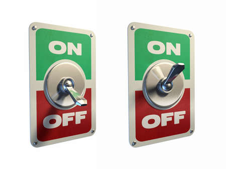 off path: Old style metal switches, on and off position. Digital illustration, clipping path included.