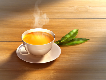 steam of a leaf: Tea cup and some fresh tea leaves on a wooden surface. Digital illustration.