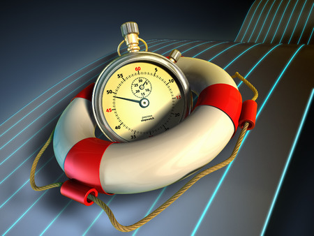 instrument of time: A stopwatch held in a lifesaver. Time saving concept image. Digital illustration.