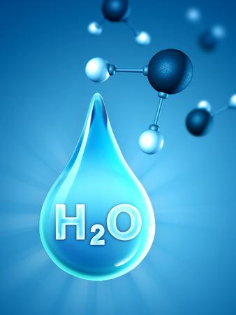molecula de agua: Una gota de agua grande con algunas moléculas de agua en el fondo. Ilustración digital.