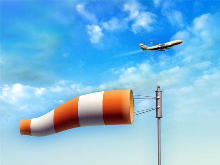 windsock: Wind sock indicating wind direction. An airplane is taking-off on background. Digital illustration.