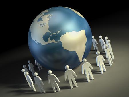 paz mundial: Iconos de personas que forman un círculo alrededor de la Tierra. Ilustración digital.