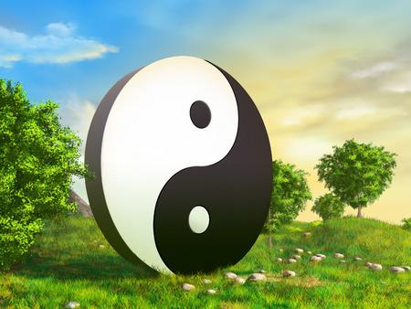shui: Giant yin yang sculpture in a beautiful garden. Digital illustration.
