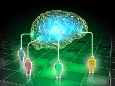 Gedanken von verschiedenen Menschen in eine kollektive Geist. Digitale Illustration. Standard-Bild
