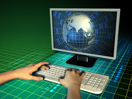 Some hands typing on a computer keyboard, while an Earth globe emerges from a monitor. Digital illustration. illustration