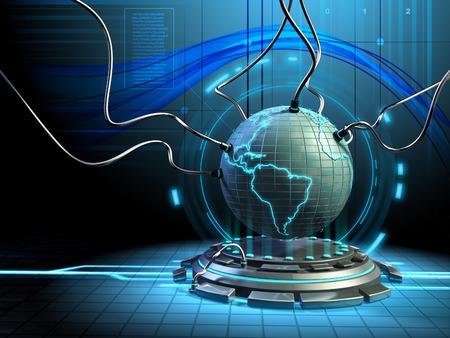 centro de computo: Un modelo de la Tierra conectado a unos cables en un entorno futurista. Ilustración digital.