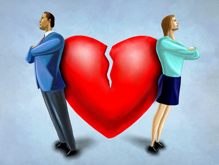 heartbreak issues: Man and woman facing opposite direction, standing in front of a broken heart. Digital illustration.