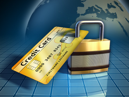 credit card payment: Credit card secured by a metal lock. Digital illustration.