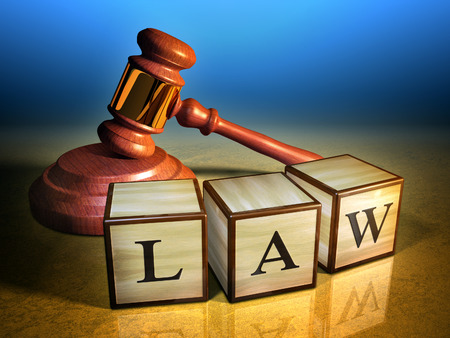 lawsuit: Some wooden cubes forming the word law, in front of a gavel. Digital illustration.
