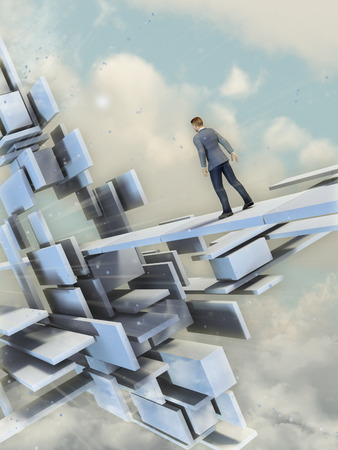 walking path: Man walking on a path through a surreal floating building. Digital illustration. Stock Photo