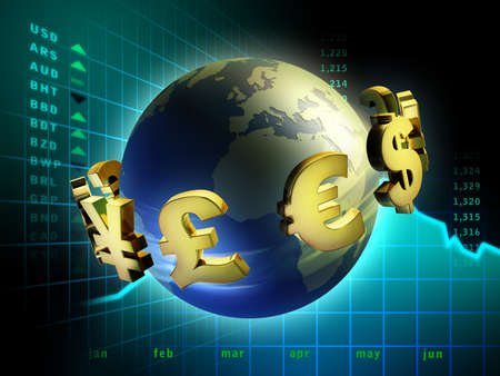 dinero: Símbolos de dinero que se mueven alrededor del planeta Tierra. Ilustración digital.