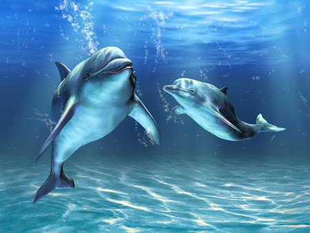 delfin: Dwa delfiny szczęśliwie pływanie w oceanie. Cyfrowe ilustracja Zdjęcie Seryjne
